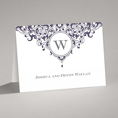 Damask Monogram - Raisin Purple - Thank You Card and Envelope