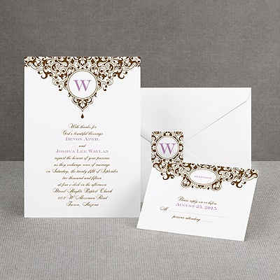 Damask Monogram - Brown - Invitation