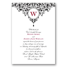 Damask Monogram - Black - Invitation