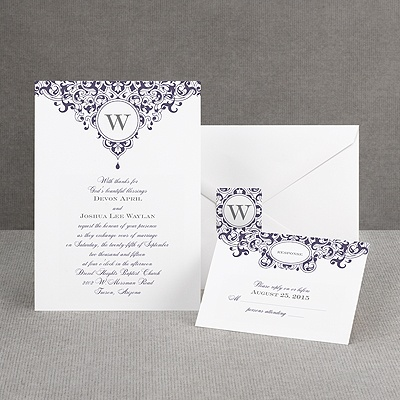 Damask Monogram - Raisin Purple - Invitation