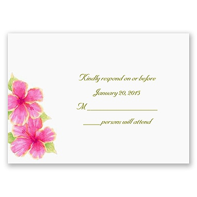 Tropical Hibiscus - Response Card and Envelope