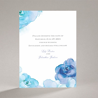 Watercolor Roses - Blue - Save the Date Card