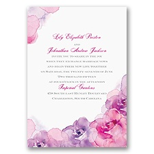 Watercolor Roses - Purple - Invitation