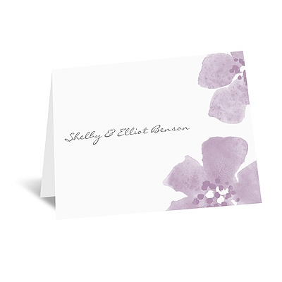 Floral Impression - Lavender - Thank You Card and Envelope