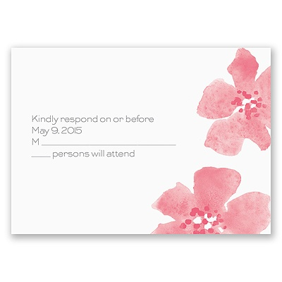 Floral Impression - Posie Pink - Response Card and Envelope
