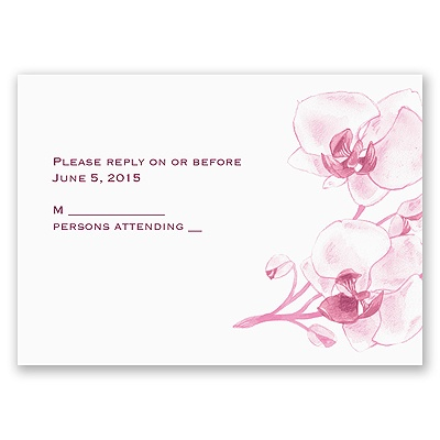 Watercolor Orchid - Fuchsia - Response Card and Envelope