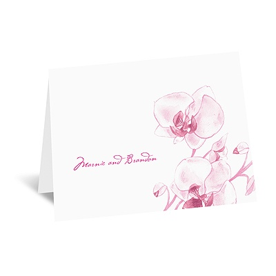 Watercolor Orchid - Fuchsia - Thank You Card and Envelope