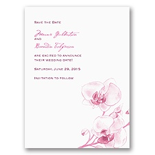 Watercolor Orchid - Fuchsia - Save the Date Card