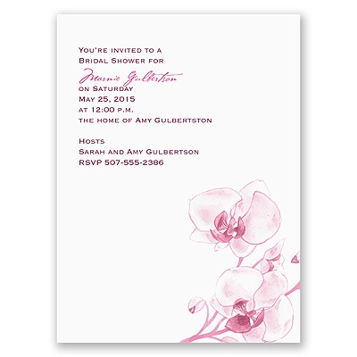 Watercolor Orchid - Fuchsia - Bridal Shower Invitation
