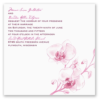 Watercolor Orchid - Fuchsia - Invitation