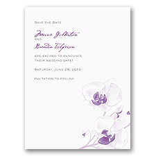 Watercolor Orchid - Purple - Save the Date Card