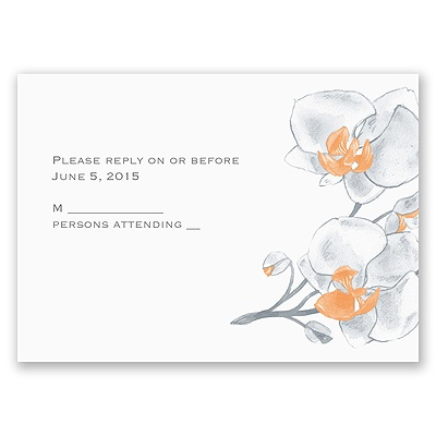 Watercolor Orchid - Orange - Response Card and Envelope