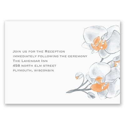 Watercolor Orchid - Orange - Reception Card