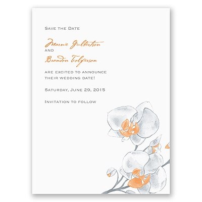 Watercolor Orchid - Orange - Save the Date Card