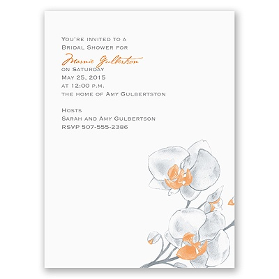 Watercolor Orchid - Orange - Bridal Shower Invitation