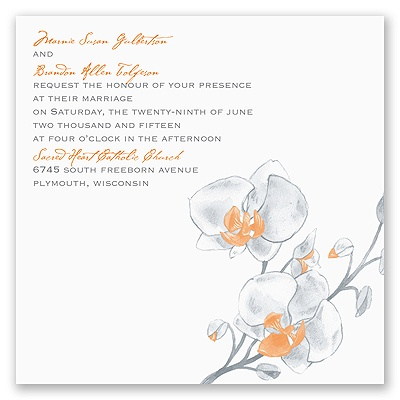 Watercolor Orchid - Orange - Invitation