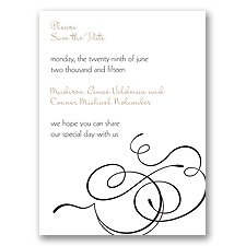 Calligraphy Swirls - Black - Save the Date