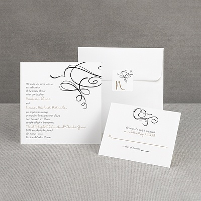 Calligraphy Swirls - Black - Invitation