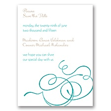 Calligraphy Swirls - Teal - Save the Date