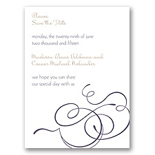 Calligraphy Swirls - Purple - Save the Date