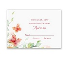 Watercolor Butterflies - Red Response Card and Envelope