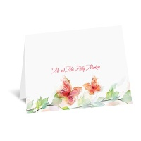 Watercolor Butterflies - Red Thank You Card and Envelope