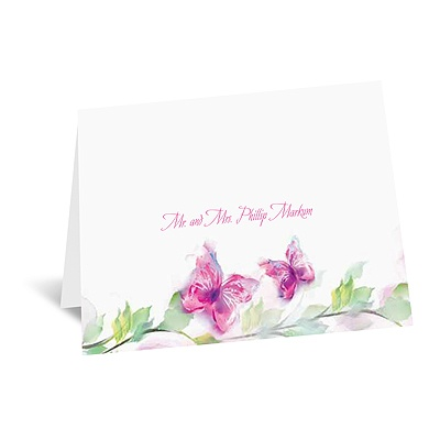 Watercolor Butterflies - Fuchsia Thank You Card and Envelope