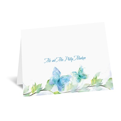 Watercolor Butterflies - Blue Thank You Card and Envelope