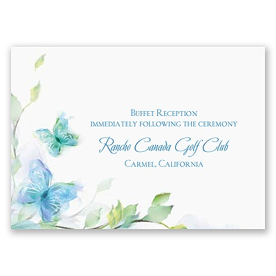 Watercolor Butterflies - Blue Reception Card