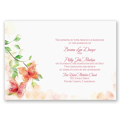 Watercolor Butterflies - Red Invitation