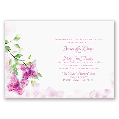 Watercolor Butterflies - Fuchsia Invitation