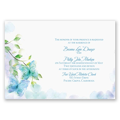 Watercolor Butterflies - Blue Invitation