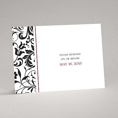 Lavish Damask - Black Response Card and Envelope