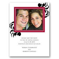 Lavish Damask - Black Save the Date Card