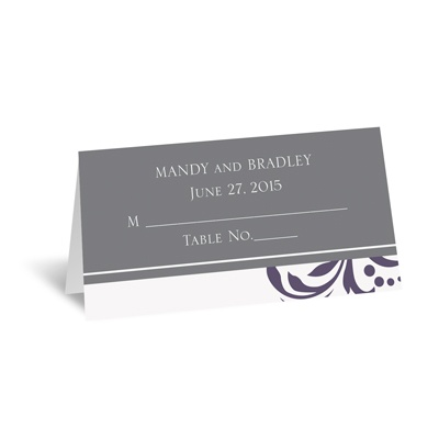 Lavish Damask - Purple - Place Card