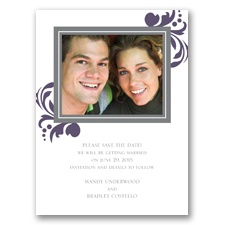 Lavish Damask - Purple Save the Date