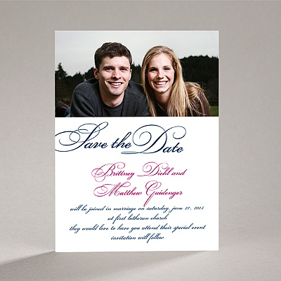 Lives Joining - Navy Save the Date Card