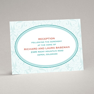 Flourish Frame - Teal - Reception Card