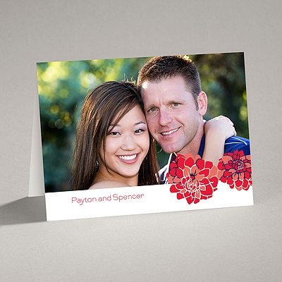 Love Blooms - Red - Thank You Card and Envelope