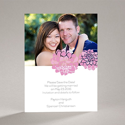 Love Blooms - Pink - Save the Date Card