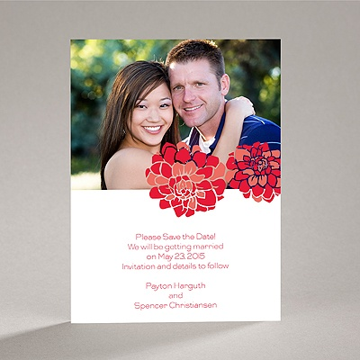 Love Blooms - Red - Save the Date Card