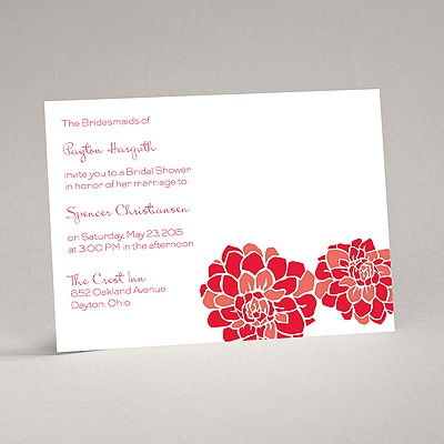 Love Blooms - Red - Bridal Shower Invitation