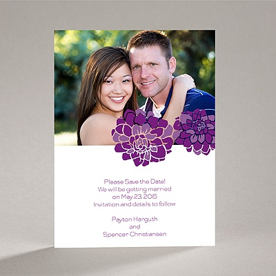 Love Blooms - Purple - Save the Date Card