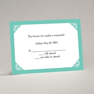 Damask Corners - Aqua Response Card and Envelope
