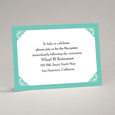Damask Corners - Aqua Reception Card
