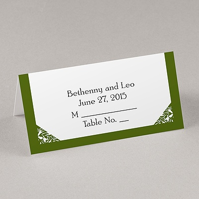 Damask Corners - Green Place Card