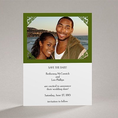 Damask Corners - Green Save the Date Card