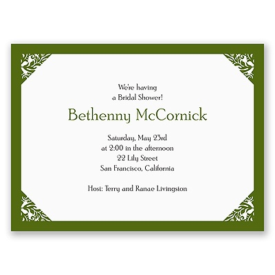 Damask Corners - Green Bridal Shower Invitation