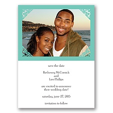 Damask Corners - Aqua Save the Date Card