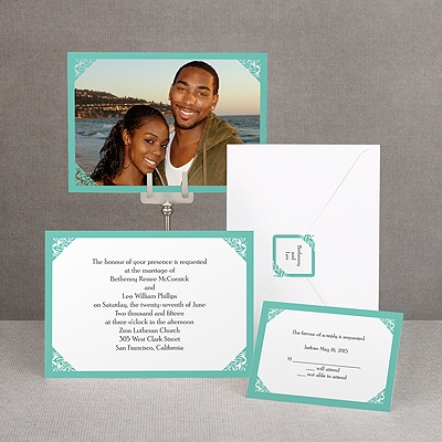 Damask Corners - Aqua Invitation